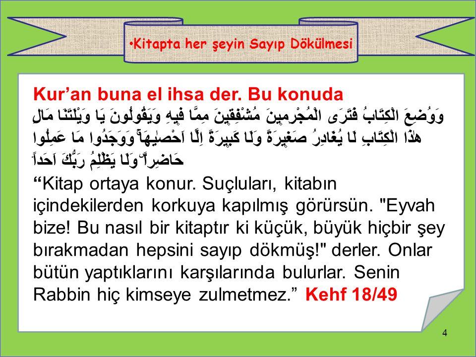 4 Kitapta her şeyin Sayıp Dökülmesi Kur'an buna el ihsa der.