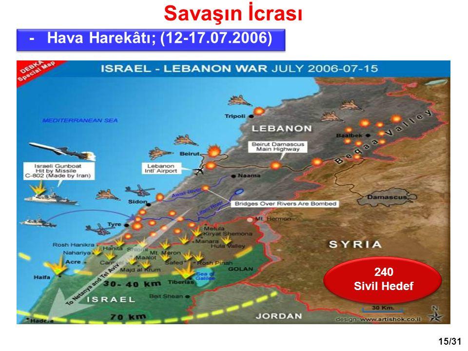 Savaşın İcrası 240 Sivil Hedef - Hava Harekâtı; (12-17.07.2006) 15/31