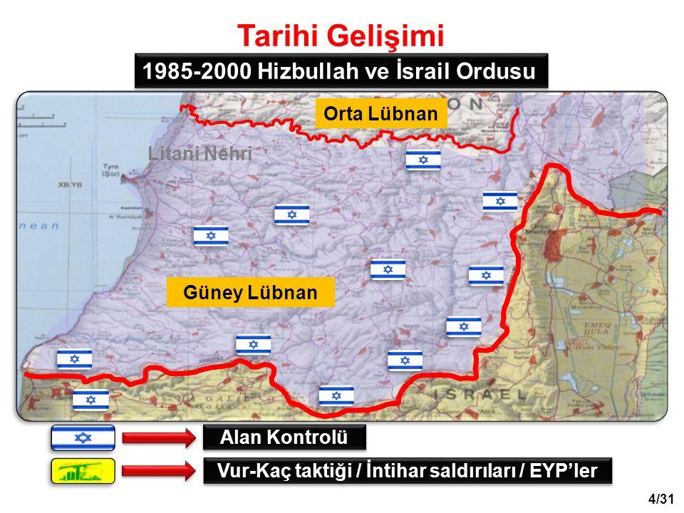 Tarihi Gelişimi 1985-2000 Hizbullah ve İsrail Ordusu Vur-Kaç taktiği / İntihar saldırıları / EYP'ler Alan Kontrolü Güney Lübnan Orta Lübnan Litani Nehri 4/31