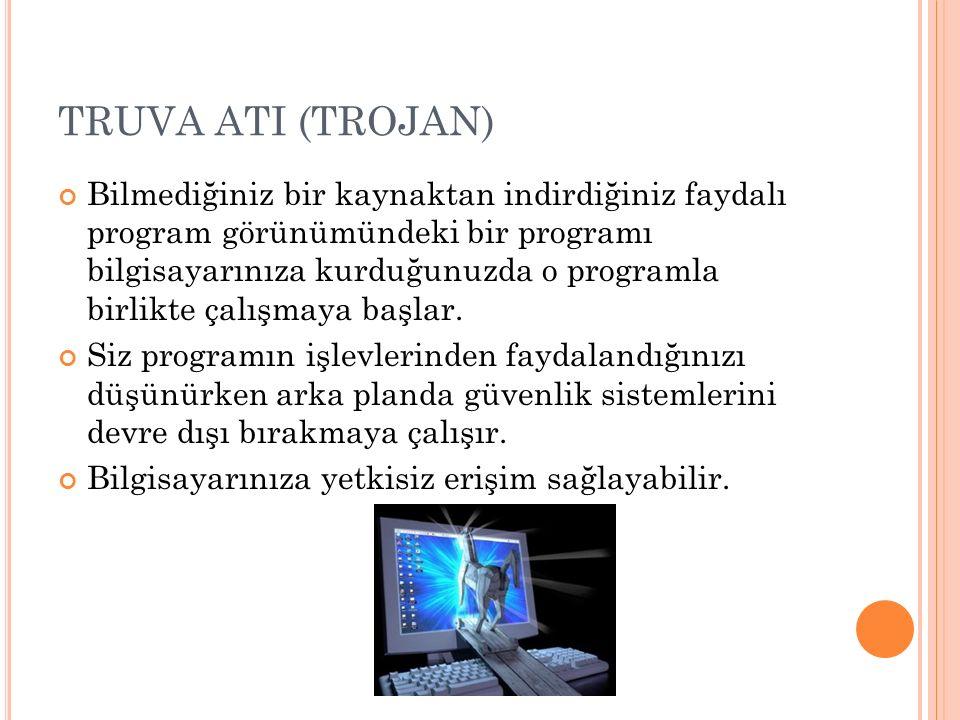 TRUVA ATI (TROJAN) Bilmediğiniz bir kaynaktan indirdiğiniz faydalı program görünümündeki bir programı bilgisayarınıza kurduğunuzda o programla birlikt