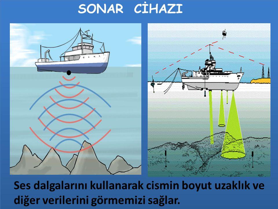 SONAR CİHAZI Ses dalgalarını kullanarak cismin boyut uzaklık ve diğer verilerini görmemizi sağlar.