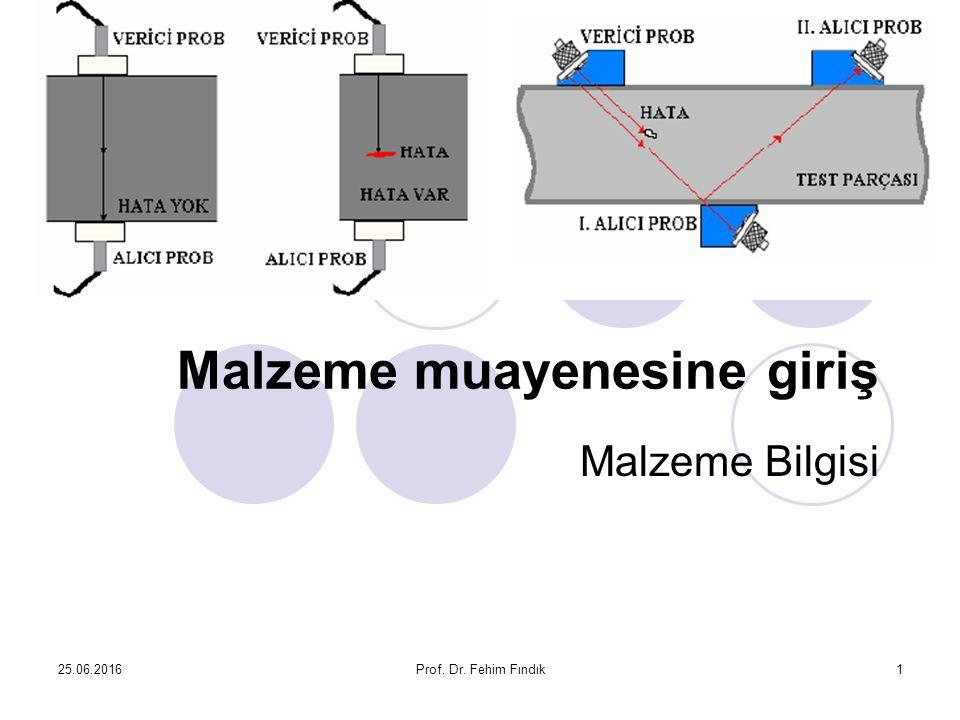 25.06.2016Prof. Dr. Fehim Fındık1 Malzeme muayenesine giriş Malzeme Bilgisi