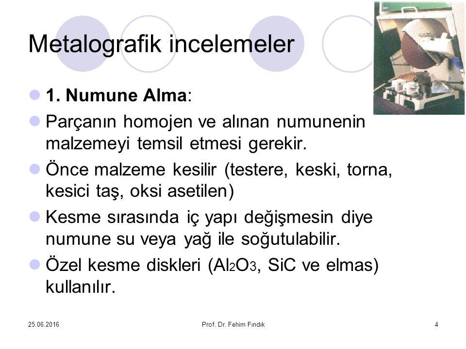 25.06.2016Prof. Dr. Fehim Fındık4 Metalografik incelemeler 1. Numune Alma: Parçanın homojen ve alınan numunenin malzemeyi temsil etmesi gerekir. Önce