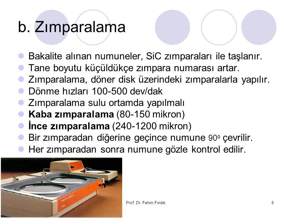 25.06.2016Prof. Dr. Fehim Fındık6 b. Zımparalama Bakalite alınan numuneler, SiC zımparaları ile taşlanır. Tane boyutu küçüldükçe zımpara numarası arta