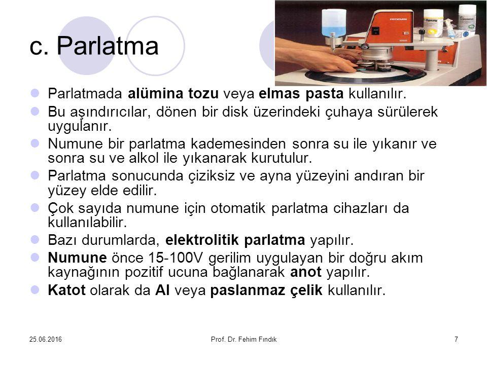25.06.2016Prof. Dr. Fehim Fındık7 c. Parlatma Parlatmada alümina tozu veya elmas pasta kullanılır. Bu aşındırıcılar, dönen bir disk üzerindeki çuhaya