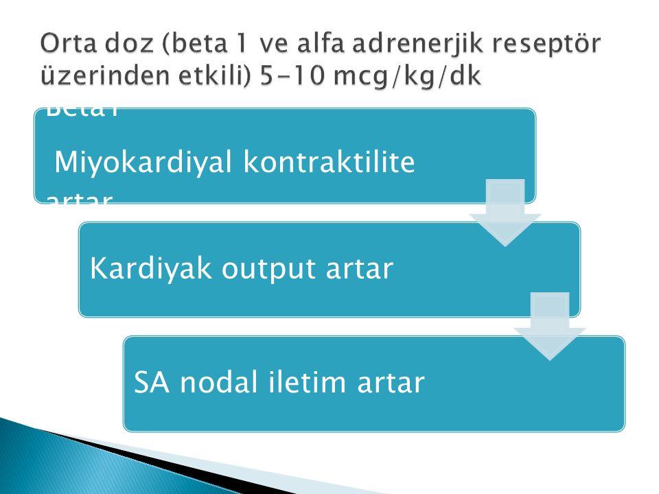 Beta1 Miyokardiyal kontraktilite artar Kardiyak output artarSA nodal iletim artar