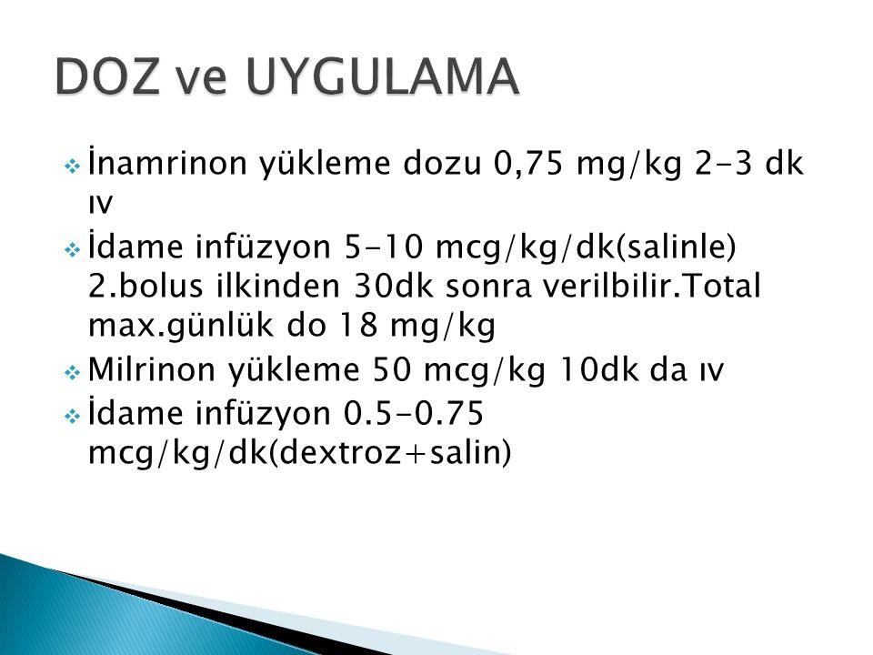  İnamrinon yükleme dozu 0,75 mg/kg 2-3 dk ıv  İdame infüzyon 5-10 mcg/kg/dk(salinle) 2.bolus ilkinden 30dk sonra verilbilir.Total max.günlük do 18 mg/kg  Milrinon yükleme 50 mcg/kg 10dk da ıv  İdame infüzyon 0.5-0.75 mcg/kg/dk(dextroz+salin)