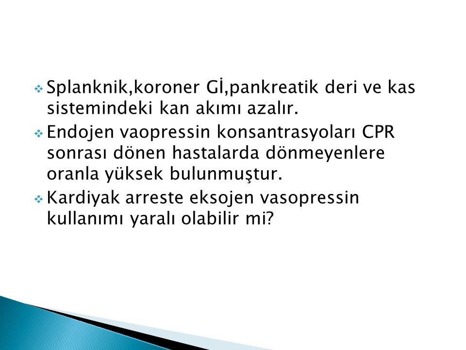  Splanknik,koroner Gİ,pankreatik deri ve kas sistemindeki kan akımı azalır.