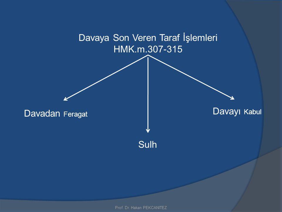 Prof. Dr. Hakan PEKCANITEZ Davaya Son Veren Taraf İşlemleri HMK.m.307-315 Davadan Feragat Sulh Davayı Kabul