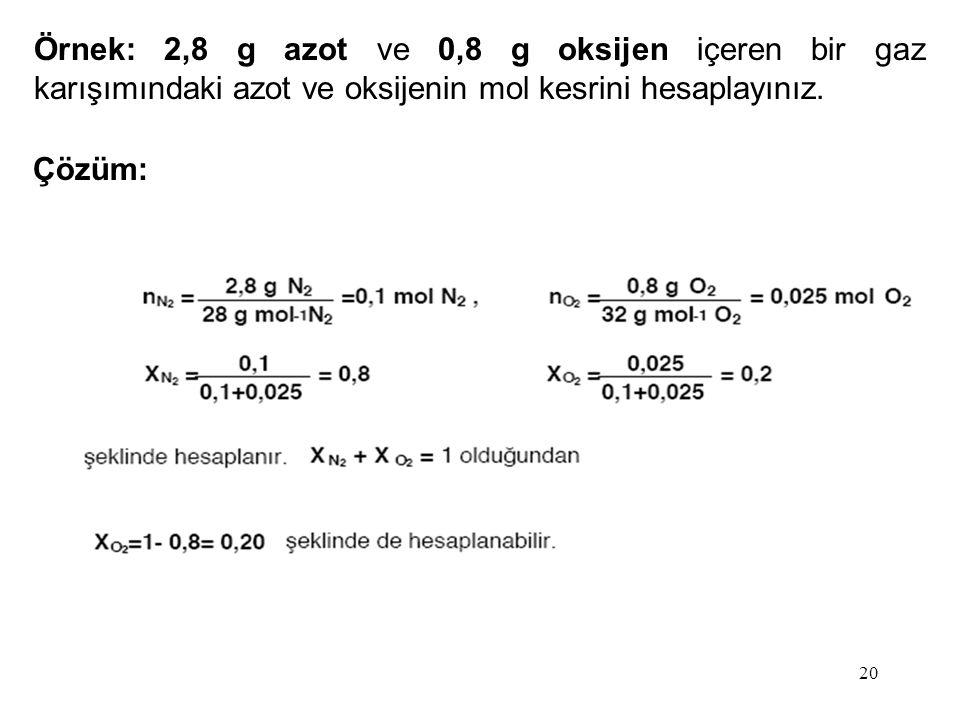 Örnek: 2,8 g azot ve 0,8 g oksijen içeren bir gaz karışımındaki azot ve oksijenin mol kesrini hesaplayınız. Çözüm: 20