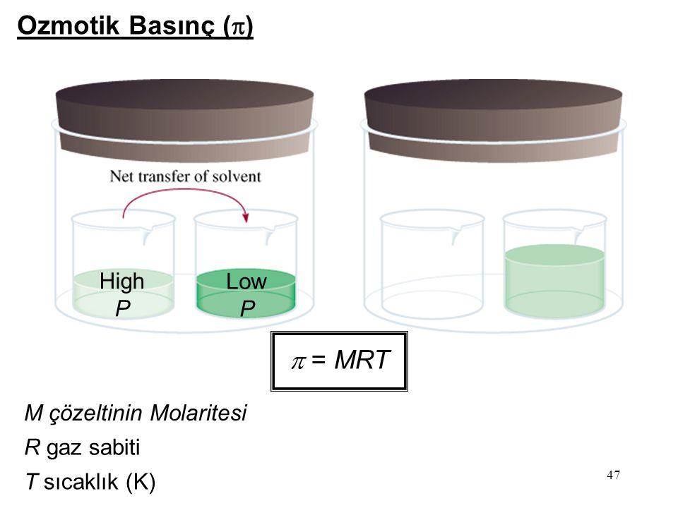 High P Low P Ozmotik Basınç (  )  = MRT M çözeltinin Molaritesi R gaz sabiti T sıcaklık (K) 47