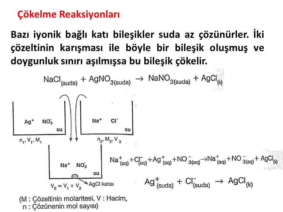 Çökelme Reaksiyonları Bazı iyonik bağlı katı bileşikler suda az çözünürler. İki çözeltinin karışması ile böyle bir bileşik oluşmuş ve doygunluk sınırı