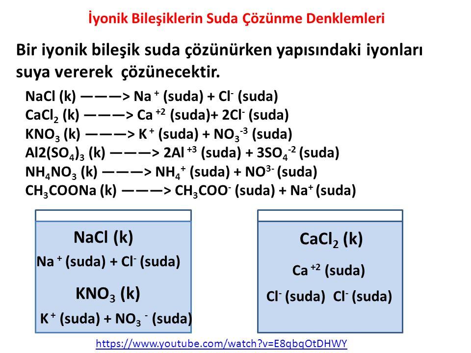 NaCl (k) ———> Na + (suda) + Cl - (suda) CaCl 2 (k) ———> Ca +2 (suda)+ 2Cl - (suda) KNO 3 (k) ———> K + (suda) + NO 3 -3 (suda) Al2(SO 4 ) 3 (k) ———> 2A