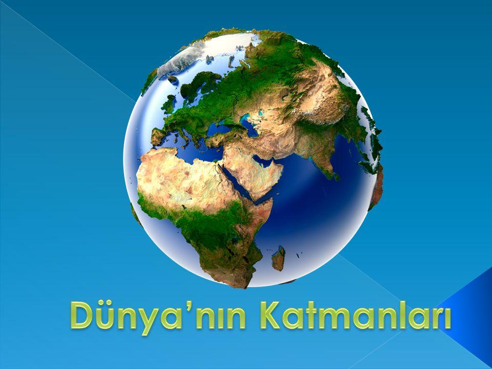 Dünyamız belirli katmanlardan oluşmuştur.  Hava küre  Su küre  Yer kabuğu  Ateş küre  Çekirdek