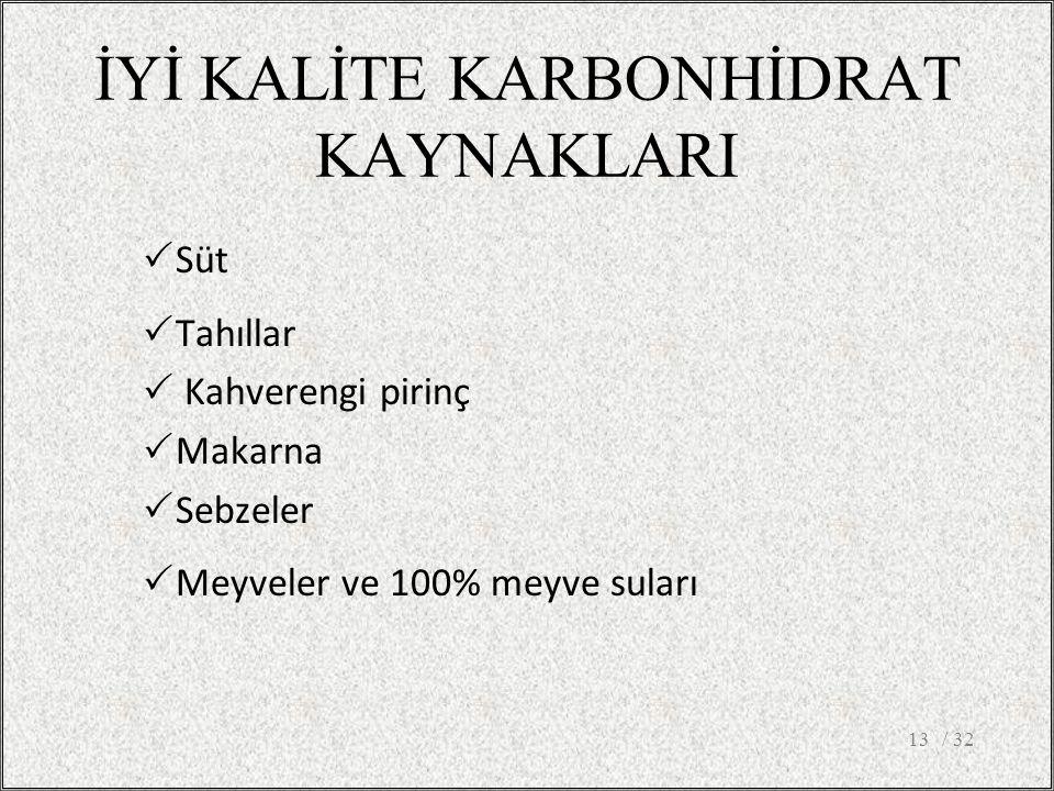İYİ KALİTE KARBONHİDRAT KAYNAKLARI / 3213  Süt  Tahıllar  Kahverengi pirinç  Makarna  Sebzeler  Meyveler ve 100% meyve suları