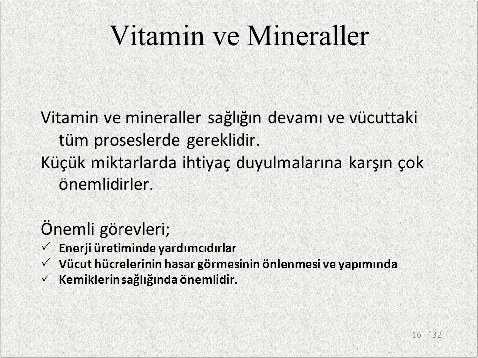 / 3216 Vitamin ve Mineraller Vitamin ve mineraller sağlığın devamı ve vücuttaki tüm proseslerde gereklidir. Küçük miktarlarda ihtiyaç duyulmalarına ka