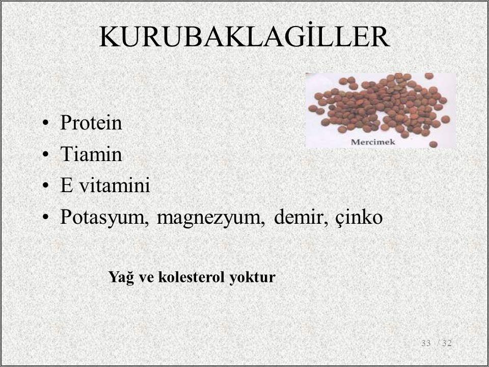 KURUBAKLAGİLLER Protein Tiamin E vitamini Potasyum, magnezyum, demir, çinko / 3233 Yağ ve kolesterol yoktur