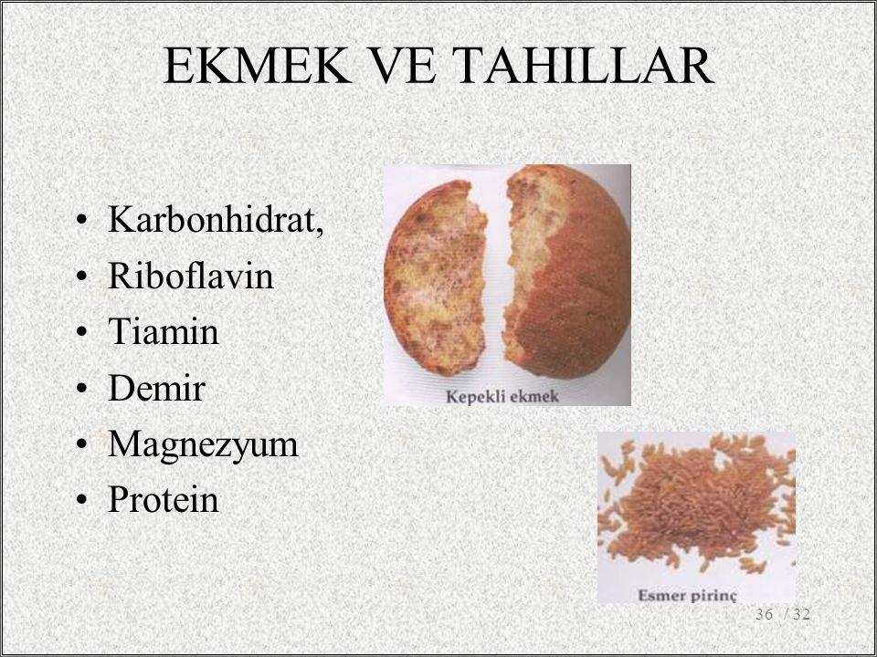 EKMEK VE TAHILLAR Karbonhidrat, Riboflavin Tiamin Demir Magnezyum Protein / 3236