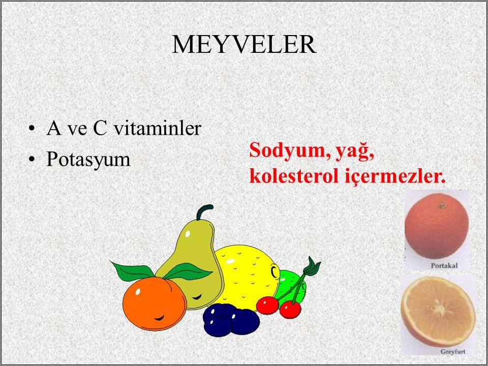 37 MEYVELER A ve C vitaminler Potasyum Sodyum, yağ, kolesterol içermezler.