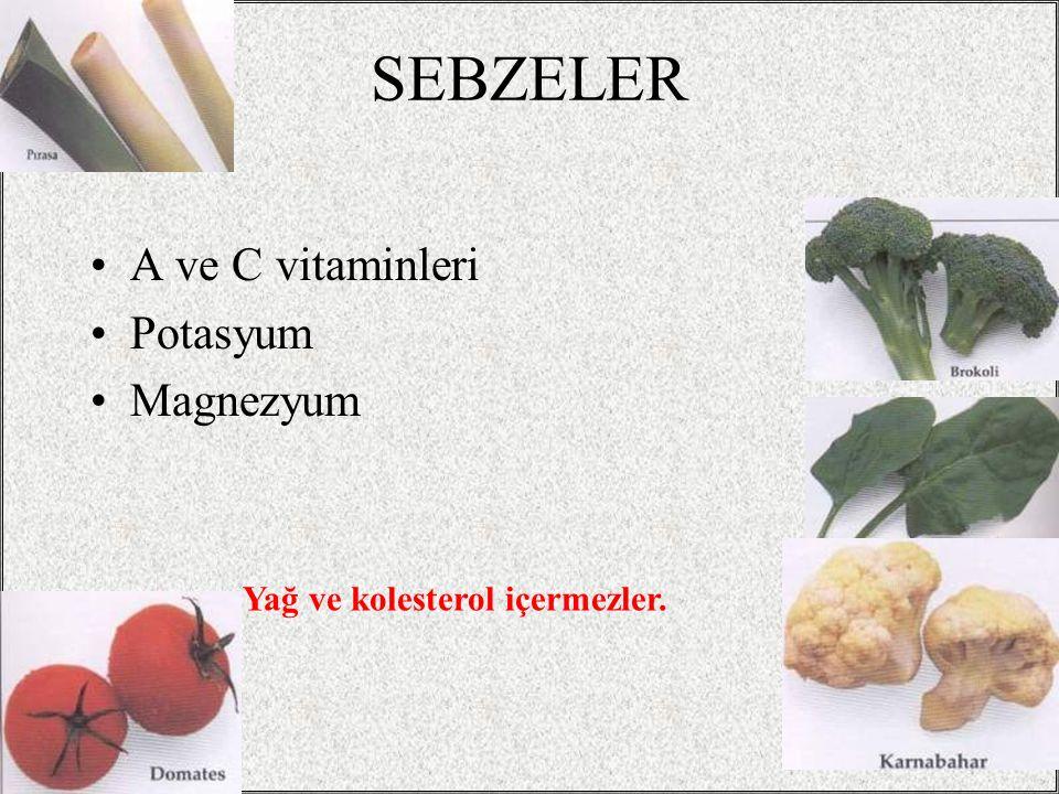 SEBZELER A ve C vitaminleri Potasyum Magnezyum / 3238 Yağ ve kolesterol içermezler.