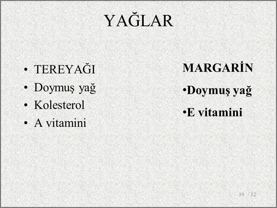 YAĞLAR TEREYAĞI Doymuş yağ Kolesterol A vitamini / 3239 MARGARİN Doymuş yağ E vitamini