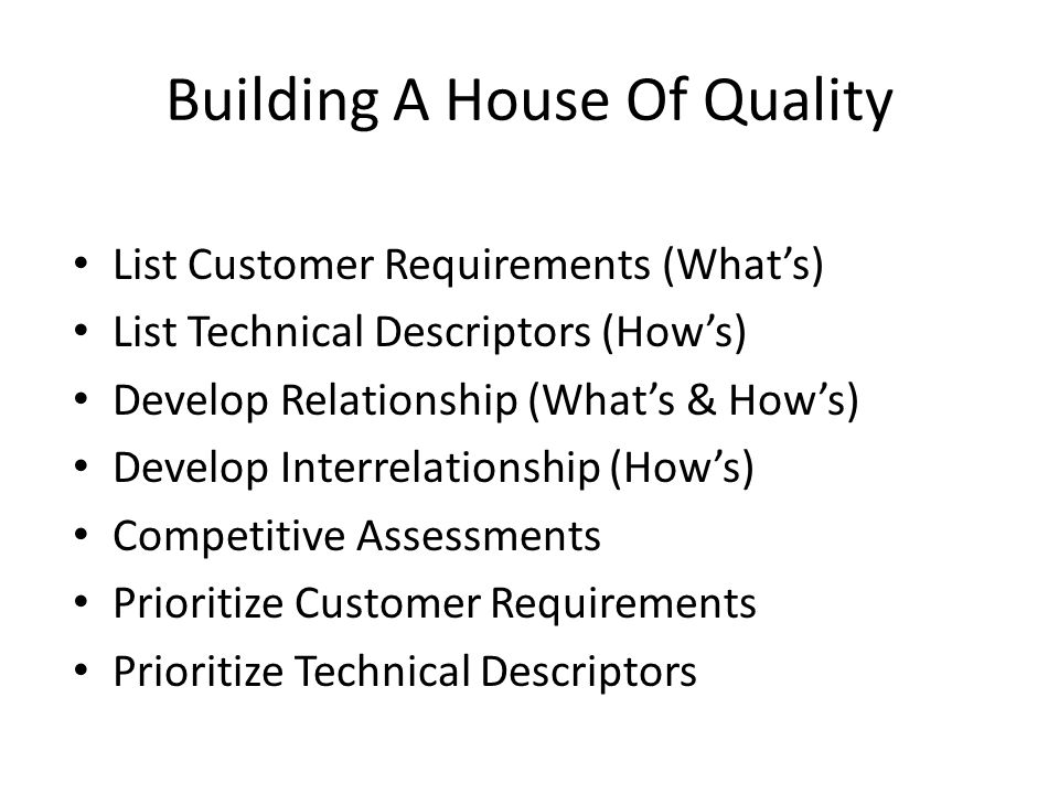 Building A House Of Quality List Customer Requirements (What's) List Technical Descriptors (How's) Develop Relationship (What's & How's) Develop Interrelationship (How's) Competitive Assessments Prioritize Customer Requirements Prioritize Technical Descriptors