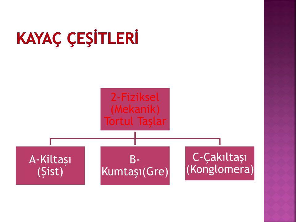 2-Fiziksel (Mekanik) Tortul Taşlar A-Kiltaşı (Şist) B- Kumtaşı(Gre) C-Çakıltaşı (Konglomera)
