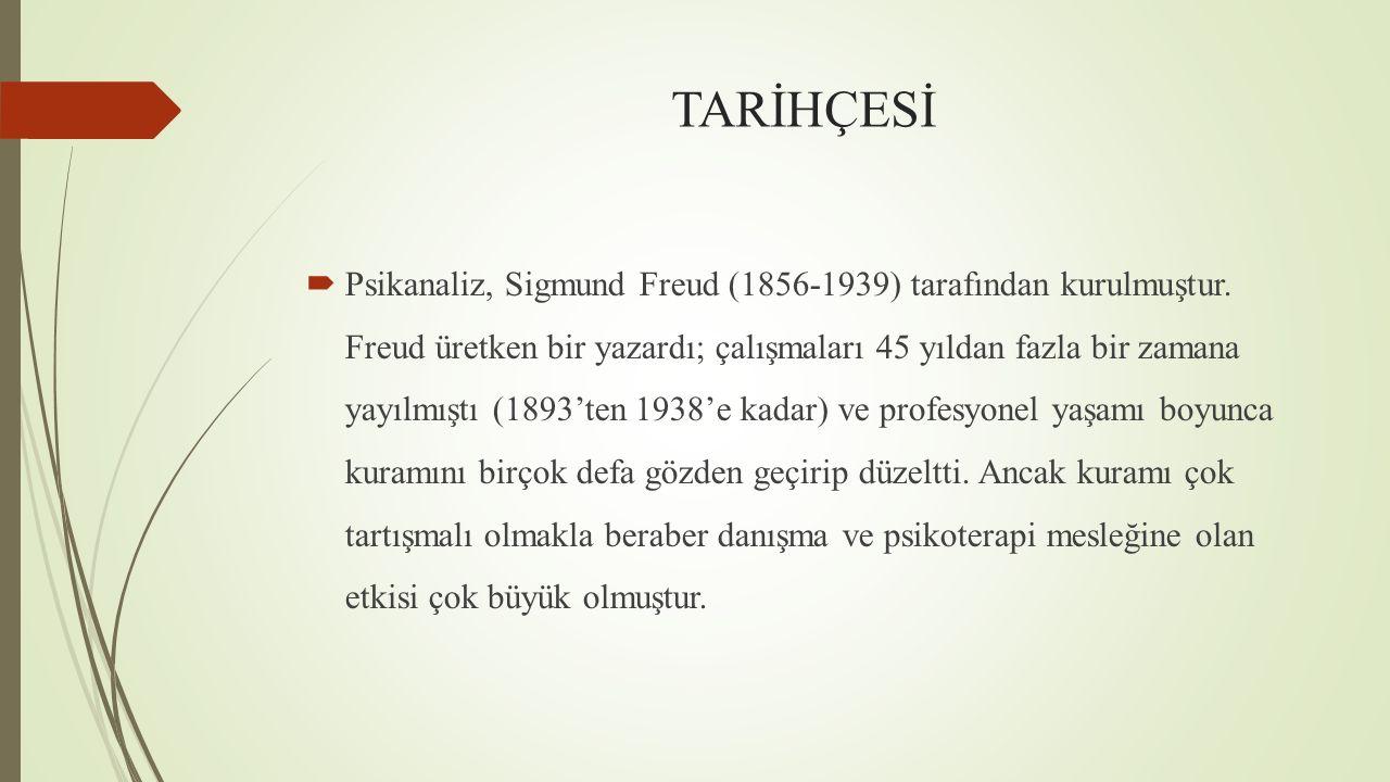 TARİHÇESİ  Psikanaliz, Sigmund Freud (1856-1939) tarafından kurulmuştur. Freud üretken bir yazardı; çalışmaları 45 yıldan fazla bir zamana yayılmıştı