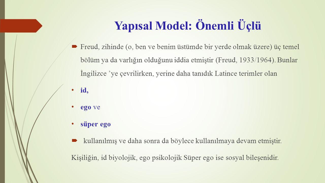 Yapısal Model: Önemli Üçlü  Freud, zihinde (o, ben ve benim üstümde bir yerde olmak üzere) üç temel bölüm ya da varlığın olduğunu iddia etmiştir (Fre