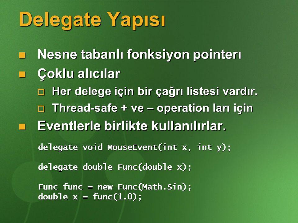 Delegate Yapısı Nesne tabanlı fonksiyon pointerı Nesne tabanlı fonksiyon pointerı Çoklu alıcılar Çoklu alıcılar  Her delege için bir çağrı listesi va