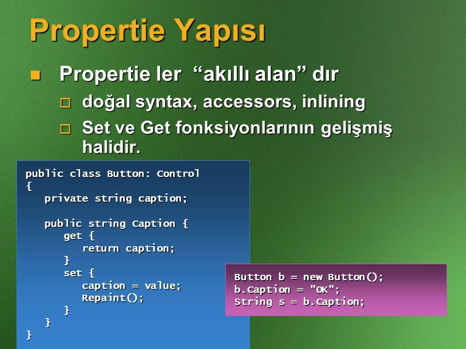 """Propertie Yapısı Propertie ler """"akıllı alan"""" dır Propertie ler """"akıllı alan"""" dır  doğal syntax, accessors, inlining  Set ve Get fonksiyonlarının gel"""