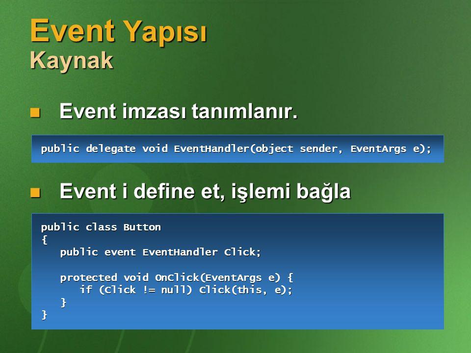 Event Yapısı Kaynak Event imzası tanımlanır. Event imzası tanımlanır. Event i define et, işlemi bağla Event i define et, işlemi bağla public delegate