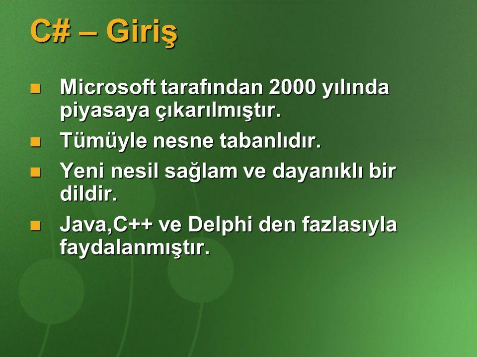 C# – Giriş Microsoft tarafından 2000 yılında piyasaya çıkarılmıştır. Microsoft tarafından 2000 yılında piyasaya çıkarılmıştır. Tümüyle nesne tabanlıdı