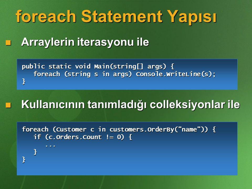 foreach Statement Yapısı Arraylerin iterasyonu ile Arraylerin iterasyonu ile Kullanıcının tanımladığı colleksiyonlar ile Kullanıcının tanımladığı coll