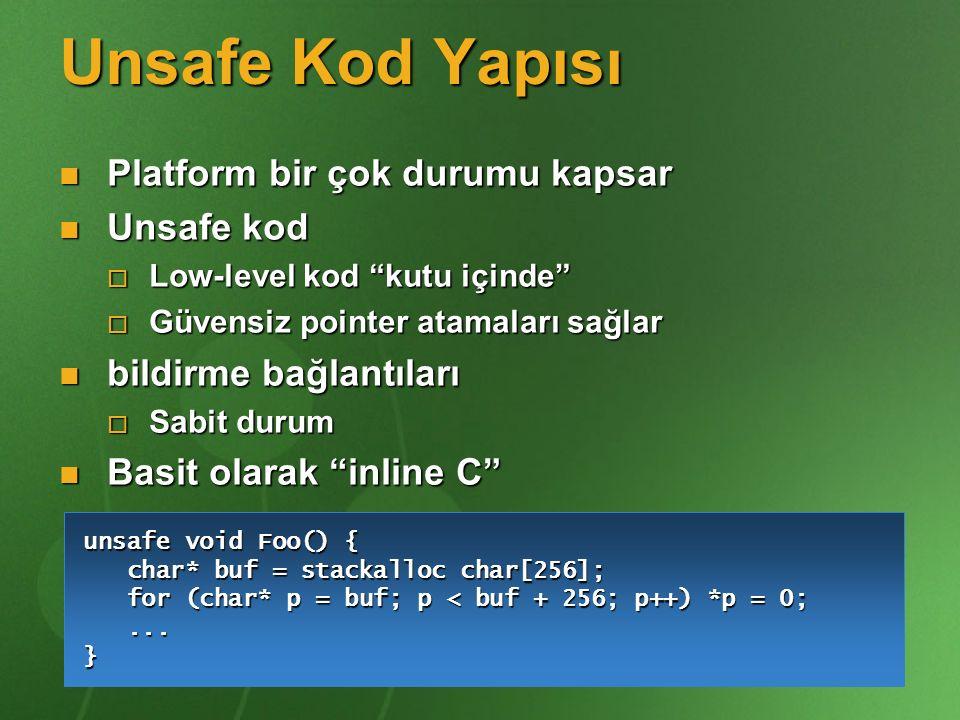 """Unsafe Kod Yapısı Platform bir çok durumu kapsar Platform bir çok durumu kapsar Unsafe kod Unsafe kod  Low-level kod """"kutu içinde""""  Güvensiz pointer"""