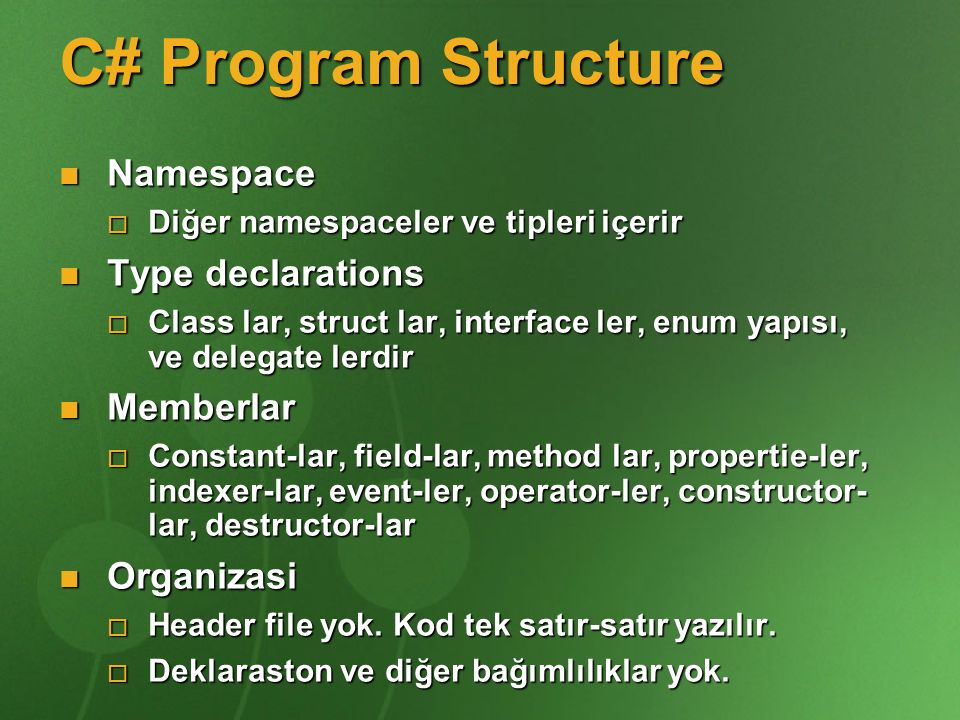 C# Program Structure using System; namespace System.Collections { public class Stack public class Stack { Entry top; Entry top; public void Push(object data) { public void Push(object data) { top = new Entry(top, data); top = new Entry(top, data); } public object Pop() { public object Pop() { if (top == null) throw new InvalidOperationException(); if (top == null) throw new InvalidOperationException(); object result = top.data; object result = top.data; top = top.next; top = top.next; return result; return result; } }}
