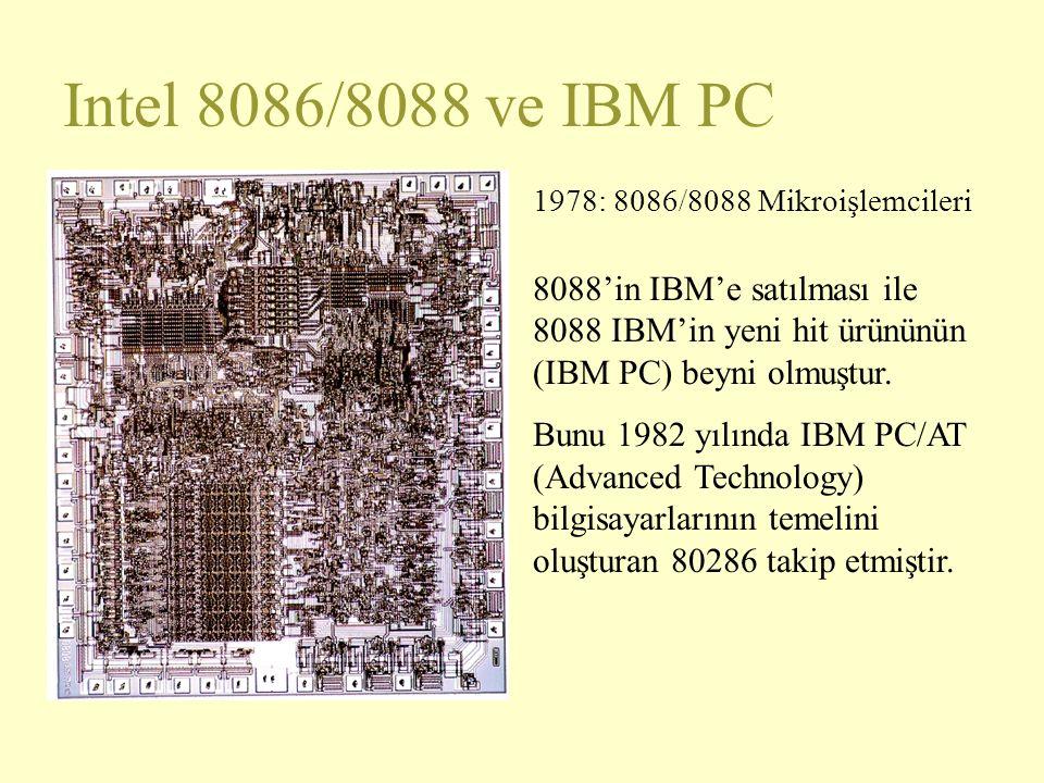 Intel 8086/8088 ve IBM PC 1978: 8086/8088 Mikroişlemcileri 8088'in IBM'e satılması ile 8088 IBM'in yeni hit ürününün (IBM PC) beyni olmuştur. Bunu 198