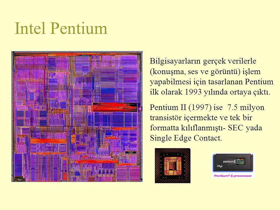 Intel Pentium Bilgisayarların gerçek verilerle (konuşma, ses ve görüntü) işlem yapabilmesi için tasarlanan Pentium ilk olarak 1993 yılında ortaya çıkt