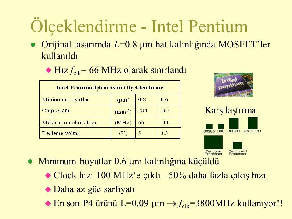 Ölçeklendirme - Intel Pentium Orijinal tasarımda L=0.8  m hat kalınlığında MOSFET'ler kullanıldı  Hız f clk = 66 MHz olarak sınırlandı Minimum boyutlar 0.6  m kalınlığına küçüldü  Clock hızı 100 MHz'e çıktı - 50% daha fazla çıkış hızı  Daha az güç sarfiyatı  En son P4 ürünü L=0.09  m  f clk =3800MHz kullanıyor!.