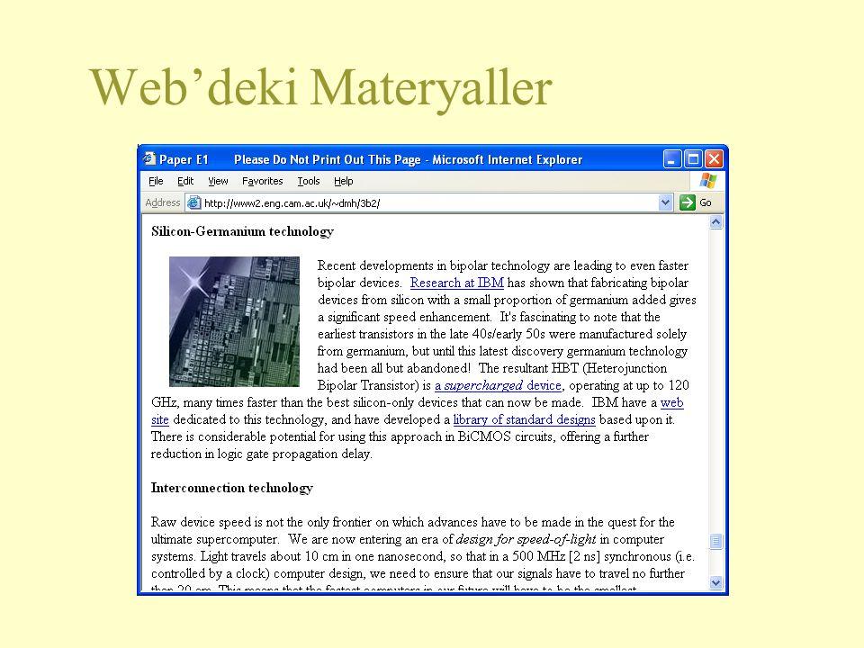 Web'deki Materyaller