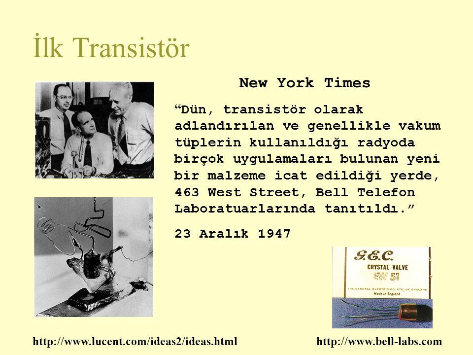 İlk Transistör New York Times Dün, transistör olarak adlandırılan ve genellikle vakum tüplerin kullanıldığı radyoda birçok uygulamaları bulunan yeni bir malzeme icat edildiği yerde, 463 West Street, Bell Telefon Laboratuarlarında tanıtıldı. 23 Aralık 1947 http://www.lucent.com/ideas2/ideas.htmlhttp://www.bell-labs.com