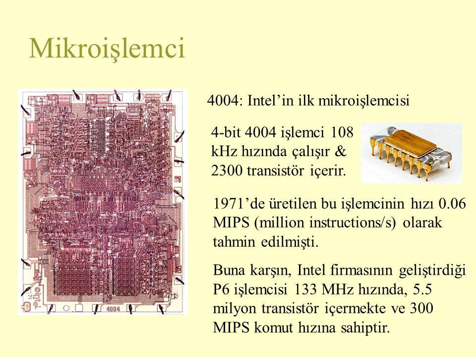 Mikroişlemci 4004: Intel'in ilk mikroişlemcisi 1971'de üretilen bu işlemcinin hızı 0.06 MIPS (million instructions/s) olarak tahmin edilmişti.