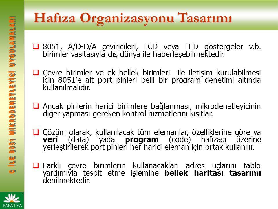 Hafıza Organizasyonu Tasarımı  8051, A/D-D/A çeviricileri, LCD veya LED göstergeler v.b.