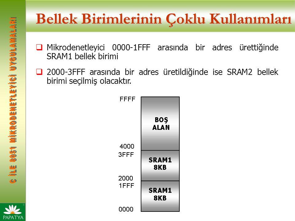 Bellek Birimlerinin Çoklu Kullanımları  Mikrodenetleyici 0000-1FFF arasında bir adres ürettiğinde SRAM1 bellek birimi  2000-3FFF arasında bir adres üretildiğinde ise SRAM2 bellek birimi seçilmiş olacaktır.