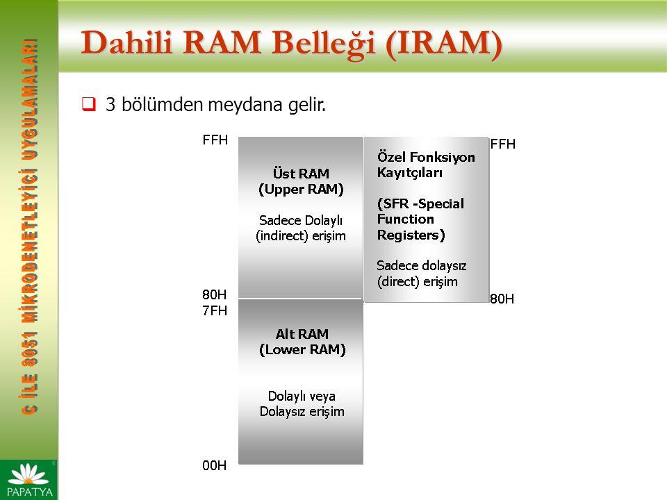 Dahili RAM Belleği (IRAM)  3 bölümden meydana gelir.