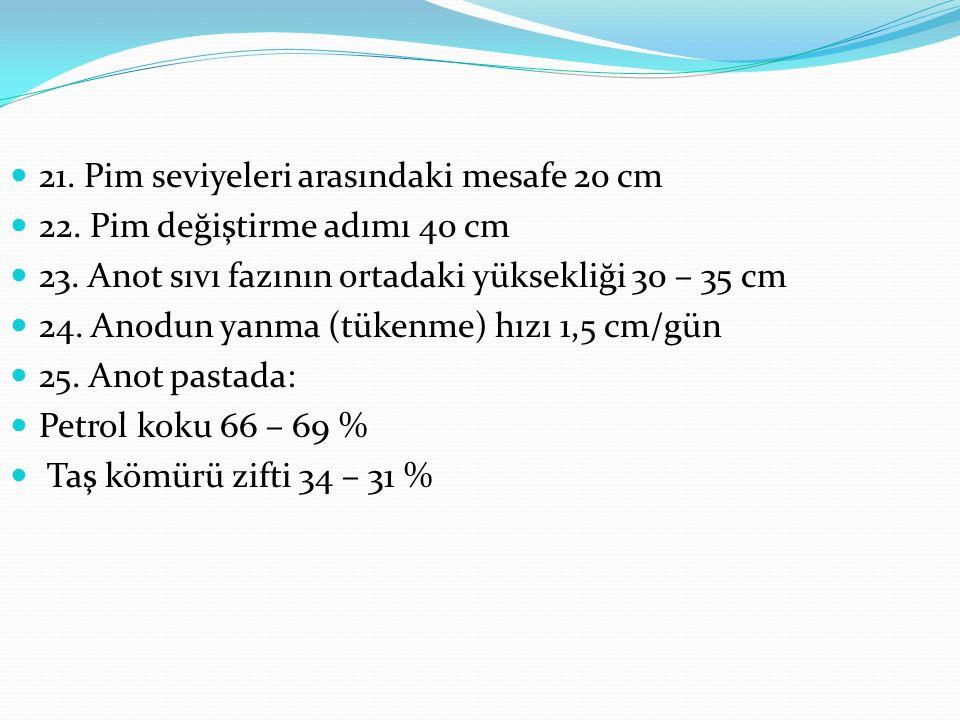 21. Pim seviyeleri arasındaki mesafe 20 cm 22. Pim değiştirme adımı 40 cm 23.