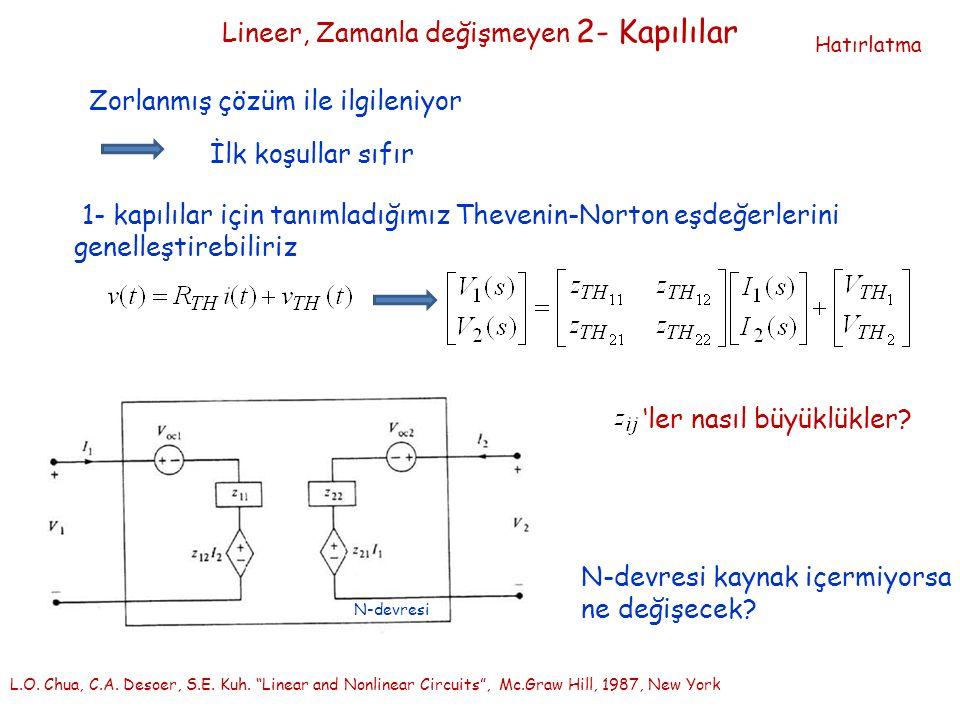 Lineer, Zamanla değişmeyen 2- Kapılılar Zorlanmış çözüm ile ilgileniyor İlk koşullar sıfır 1- kapılılar için tanımladığımız Thevenin-Norton eşdeğerlerini genelleştirebiliriz L.O.