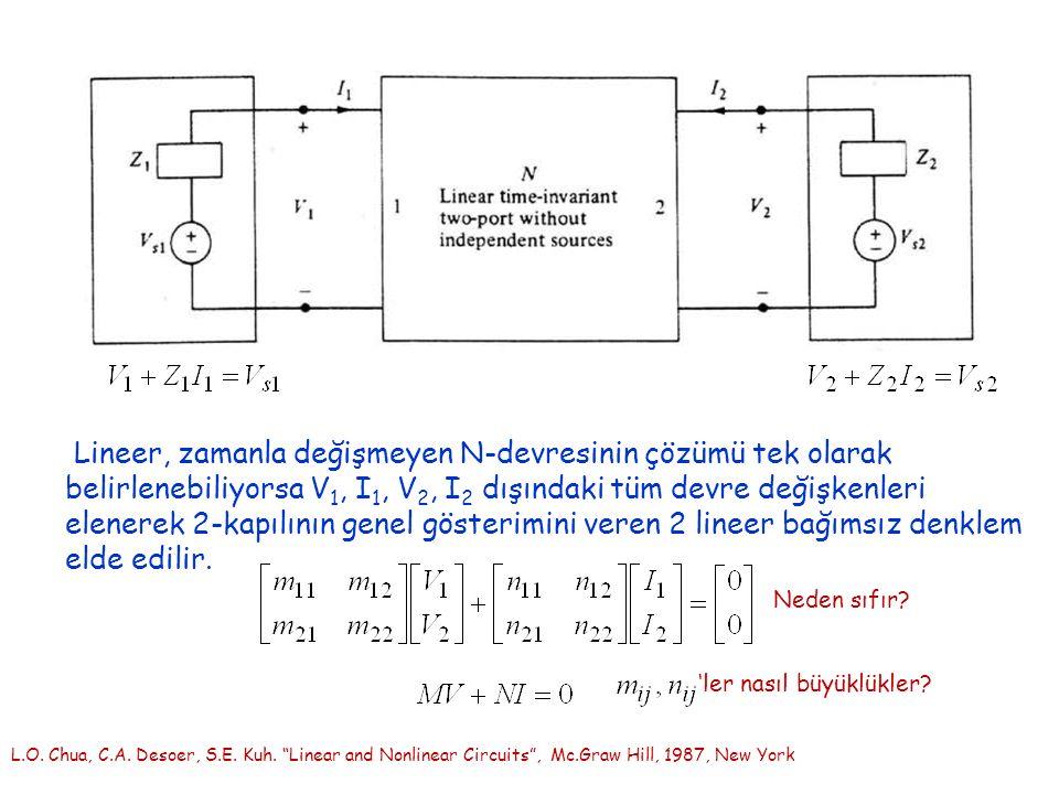 "L.O. Chua, C.A. Desoer, S.E. Kuh. ""Linear and Nonlinear Circuits"", Mc.Graw Hill, 1987, New York Lineer, zamanla değişmeyen N-devresinin çözümü tek ola"