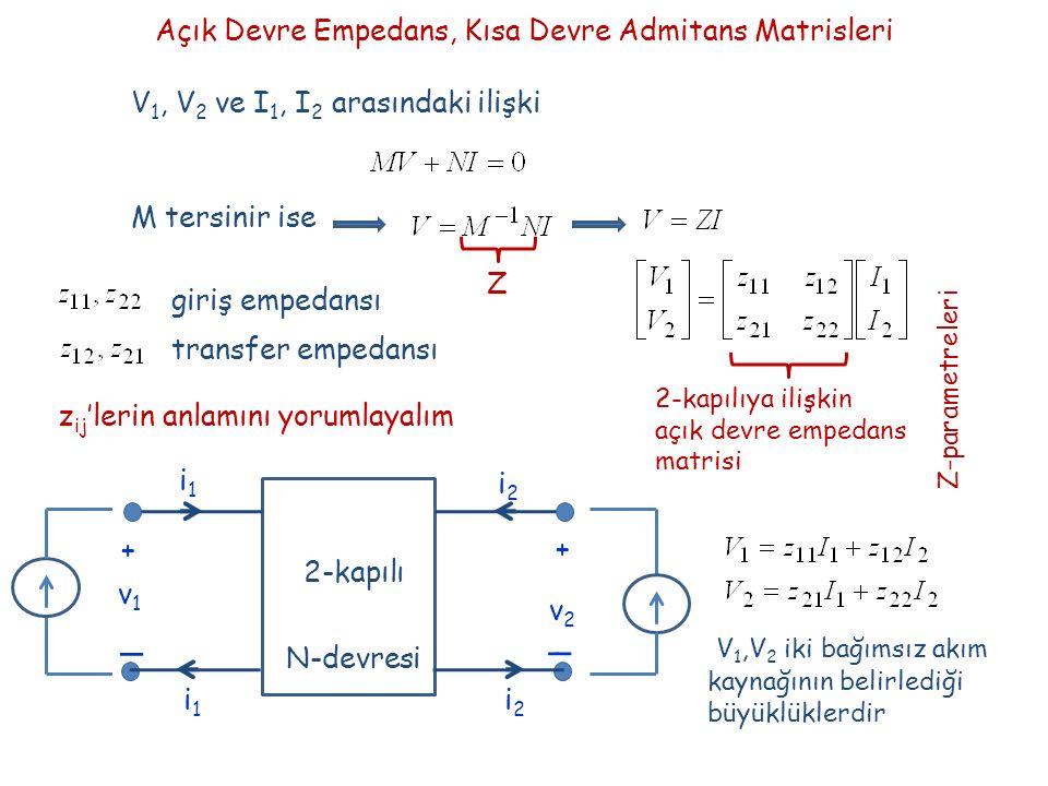 Açık Devre Empedans, Kısa Devre Admitans Matrisleri V 1, V 2 ve I 1, I 2 arasındaki ilişki M tersinir ise Z 2-kapılıya ilişkin açık devre empedans matrisi Z-parametreleri giriş empedansı transfer empedansı z ij 'lerin anlamını yorumlayalım + _ _ + v1v1 v2v2 i1i1 i2i2 2-kapılı N-devresi i2i2 i1i1 V 1,V 2 iki bağımsız akım kaynağının belirlediği büyüklüklerdir