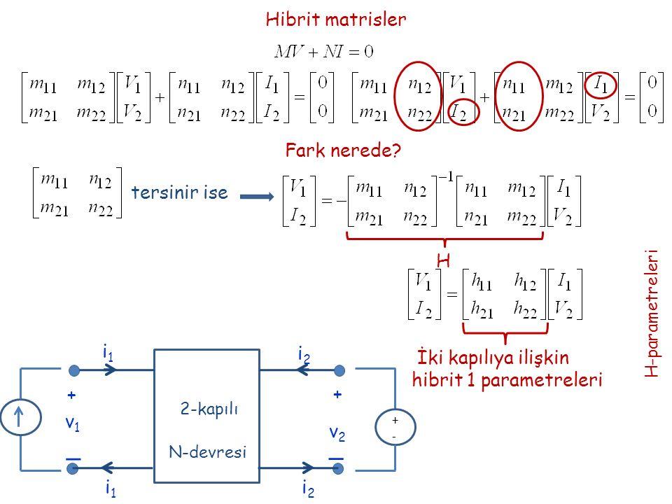Hibrit matrisler Fark nerede? tersinir ise H İki kapılıya ilişkin hibrit 1 parametreleri H-parametreleri + _ _ + v1v1 v2v2 i1i1 i2i2 2-kapılı N-devres